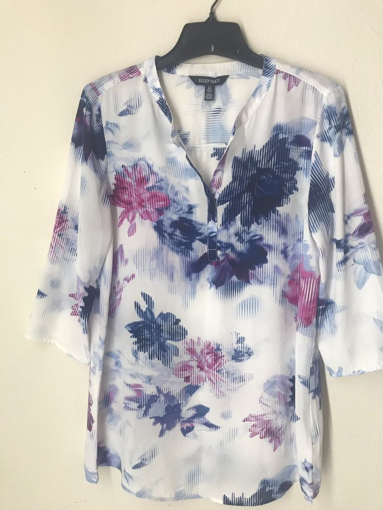 baedbf084cbceb Ellen Tracy Women Shirt Blue Pink White Floral Size M #fashion #clothing  #shoes #accessories #womensclothing #tops (ebay link)