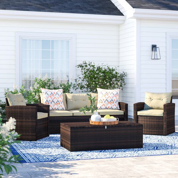 Best Arlington 4 Piece Wicker Sofa Seating Group With Cushions 400 x 300