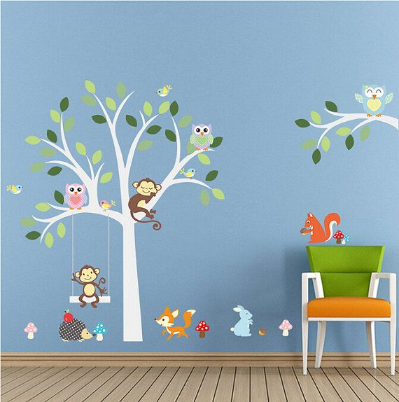 Removable Wall Stickers White Tree With Sleeping Monkey Aw1224