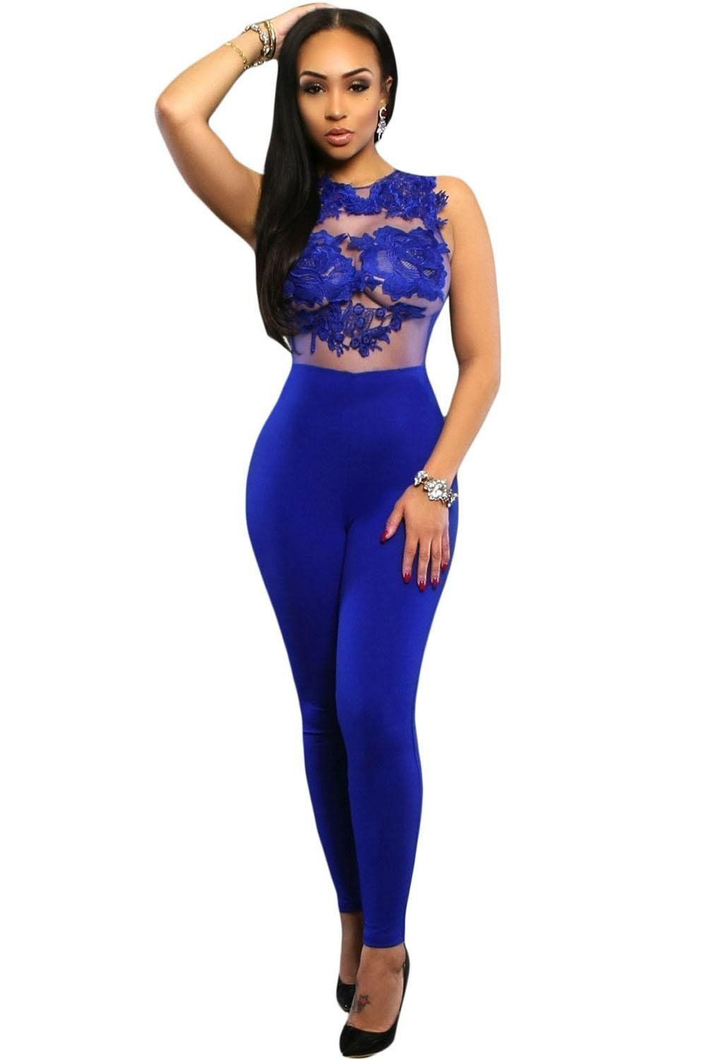 619a3555bc6 Women Jumpsuits Sexy Forla Lace Transparent Top