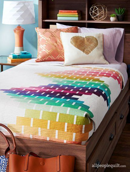 Modern Ombre bed quilt by Megan Pitz of Canoe Ridge Creations.  American Patchwork and Quilting February 2017 issue.