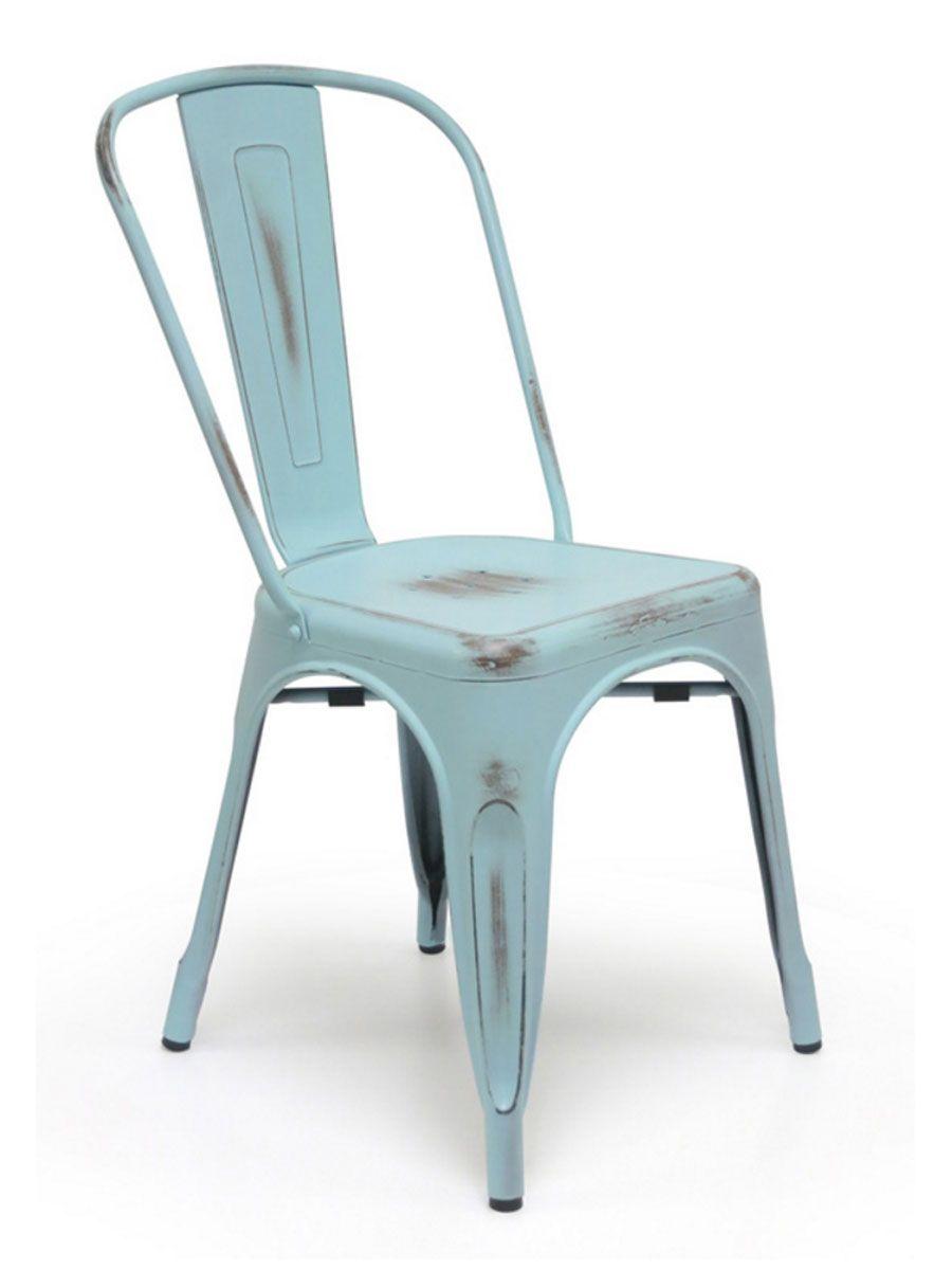 Metal Bistro Chair Antique Blue in 2019   Metal bistro ...