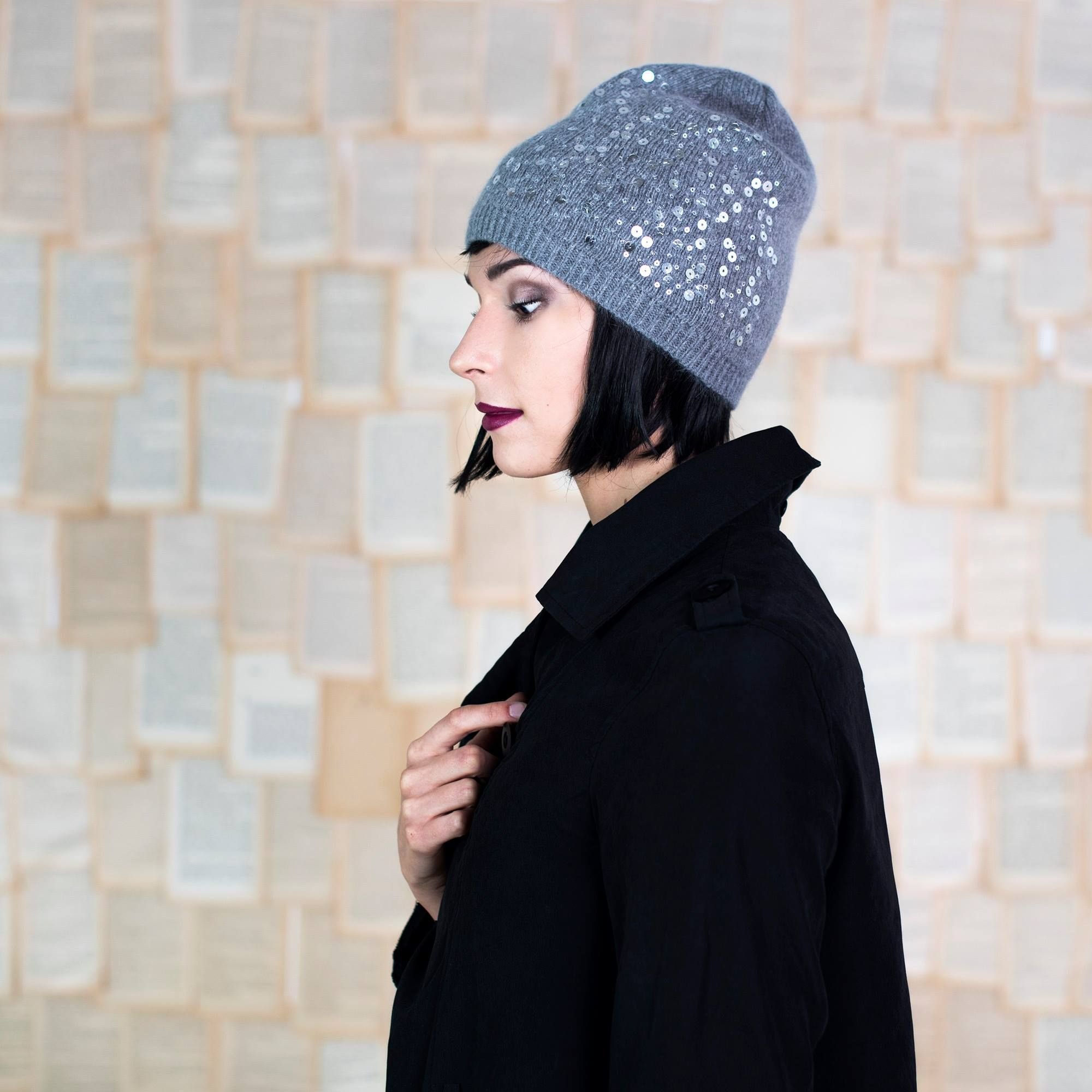 Elegant winter cap with sequins. Warm and sparkly.  Fall-winter 2016–2017.  Szaleo.pl | Be new fashioned & accessorized!  #sequins