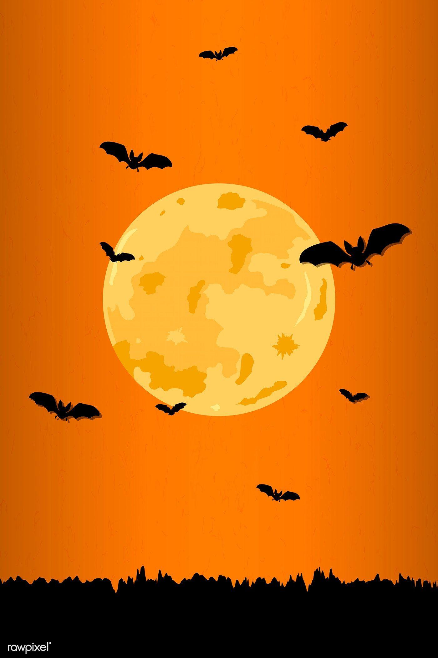 Full Moon Pattern On Orange Halloween Background Vector Free Image By Rawpixel Com Aew Halloween Illustration Halloween Backgrounds Moon Pattern