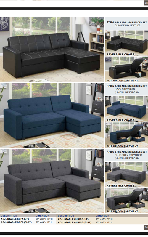 Adjustable Sofa With Storage Turns Into Bed 765-FURN-GUY