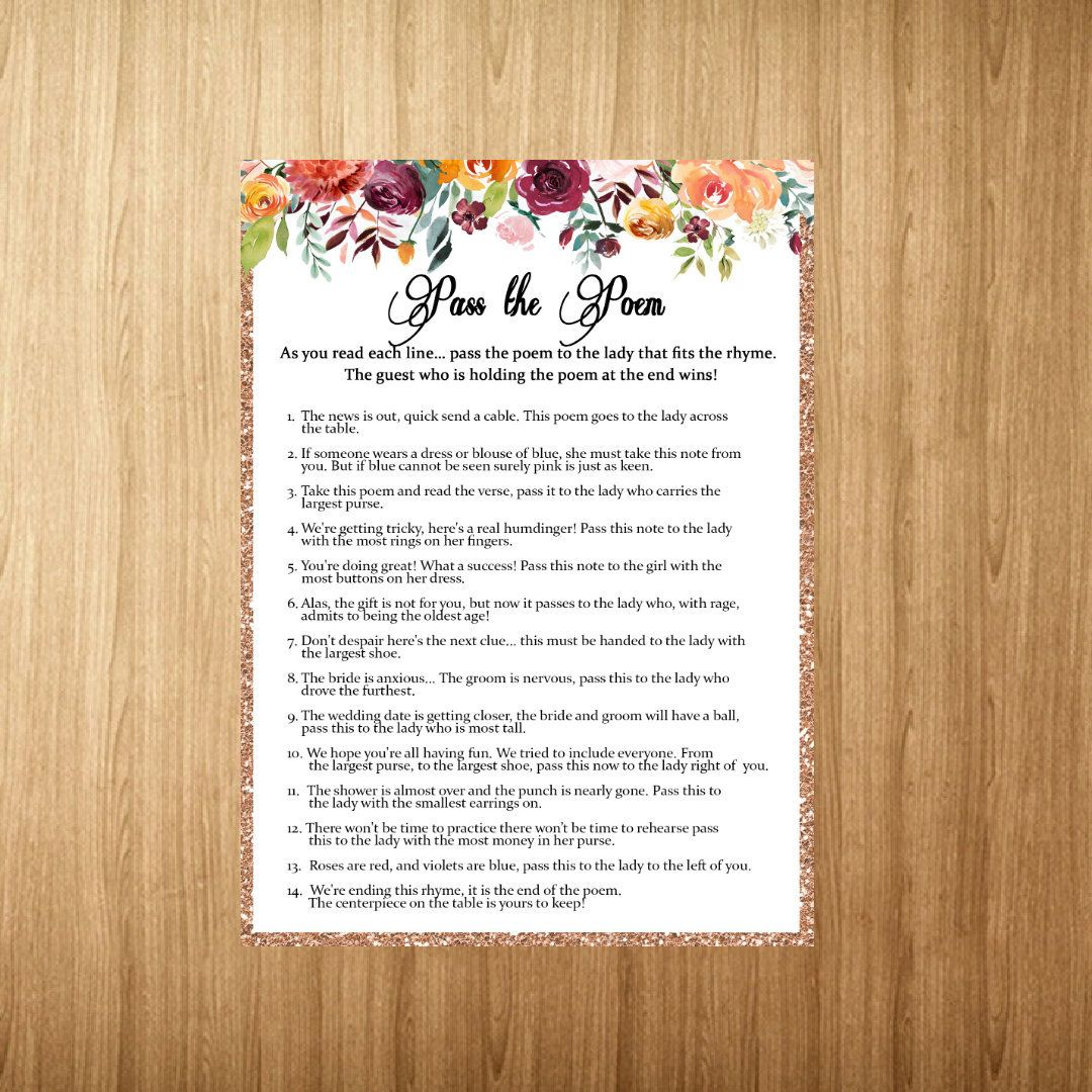 bridal shower games pass the poem game printable wedding shower game pass along the poem floral shower games instant download confetti by abekeshop on