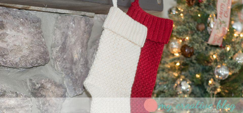 Moss Stitch Christmas Stocking - Crochet Pattern | Xmas tree ...