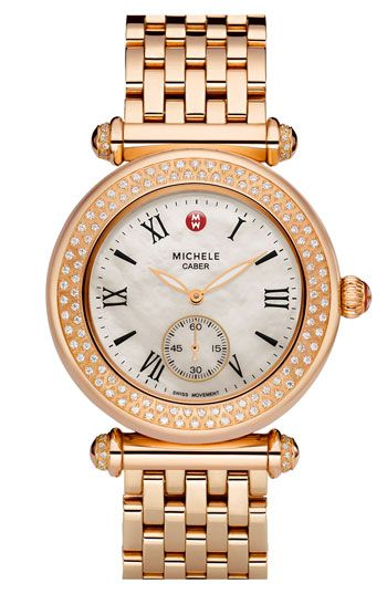 30458c47a MICHELE 'Caber' Diamond & Rose Gold Customizable Watch | accessorize ...