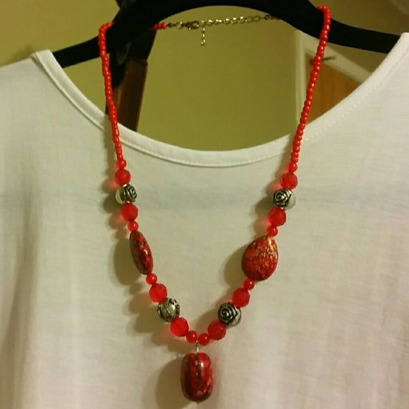 Red necklace 20 inches total length.. Jewelry Necklaces
