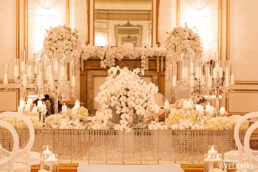 Wedluxe A Dazzling All White Orchid Filled Wedding Photography By Reception Flowerstiffany