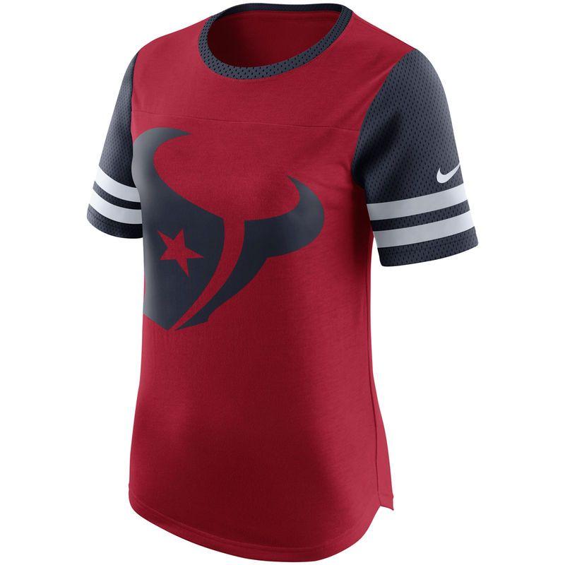 Women's Nike Red/Navy Houston Texans Gear Up Modern Fan T