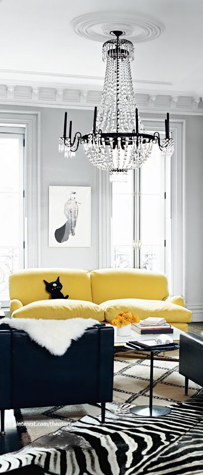 Black And White With A Pop Of Color With The Chrome Yellow Love Seat White Interior Design Black Living Room Interior #white #living #room #with #pops #of #color