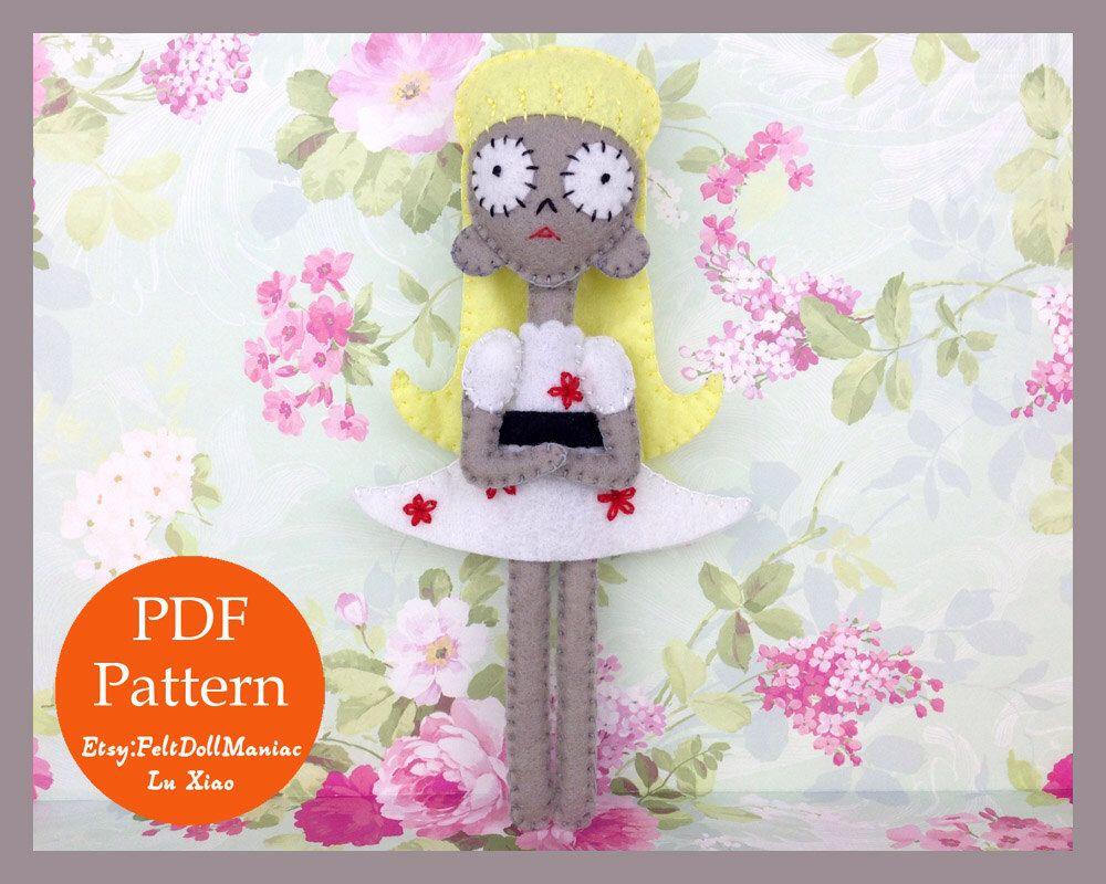 Staring girl.Tim Burton. Halloween pattern. Halloween Decoration. Felt Doll. Felt pattern. PDF Pattern. Sewing pattern. Felt Crafts.