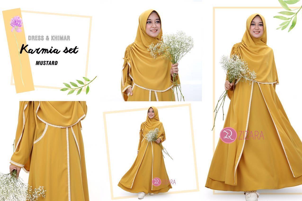 Gamis Zizara Karmia Set Mustard Baju Muslimah Busana Muslim Kini Hadir Untukmu Yang Cantik Syari Dan Trendy Model Pakaian Hijab Model Pakaian Renda Rajut