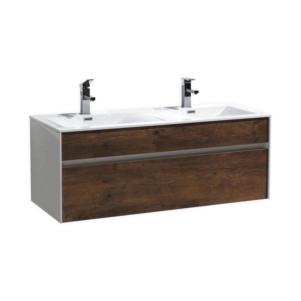 "Fitto 48"" Rose Wood Wall Mount Modern Bathroom Vanity - Double Sink"