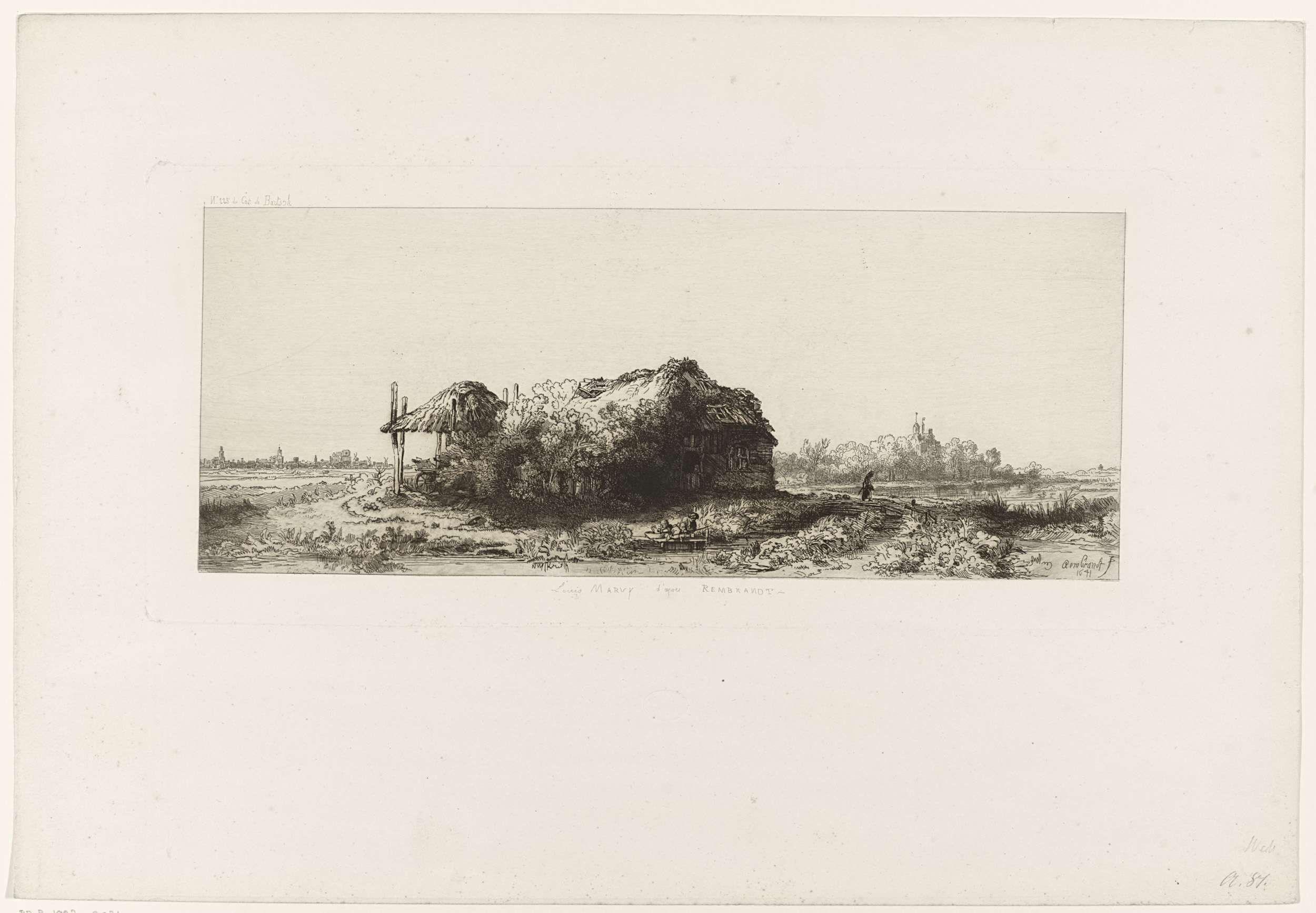 Louis Marvy | Landschap. Naar Rembrandt, Louis Marvy, Rembrandt Harmensz. van Rijn, 1825 - 1850 |