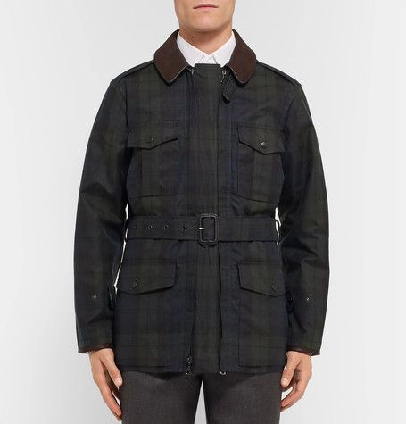 Kingsman Black Watch Waxed Cotton Field Jacket with Leather Trims | MR PORTER