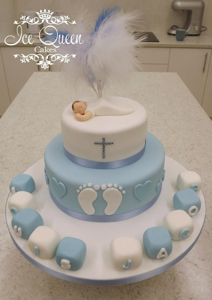 Baptism Cake Boy : baptism, Christening, Blocks, Feathers., Queen, Cakes-, Helens,, Liverpool,, Manc…, Cake,, Cakes