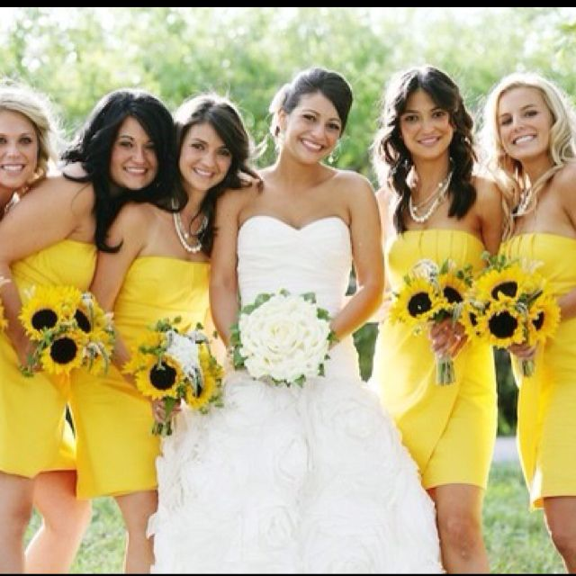 Pin By Wedding Favors Unlimited On Color Yellow Weddings Yellow Bridesmaid Dresses Yellow Bridesmaids Sunflower Wedding