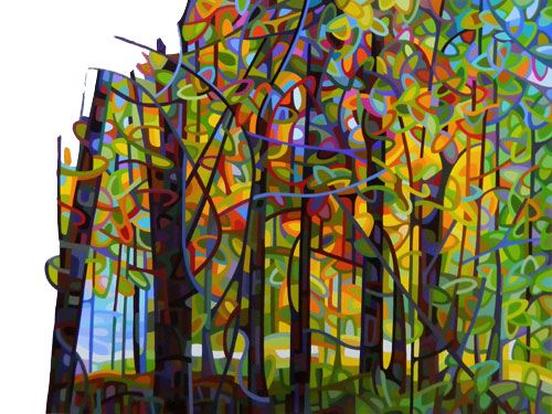 art landscape painting abstract fall forest colour mosaic