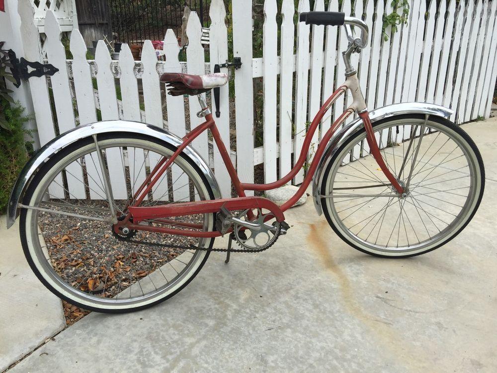 Girls Schwinn Collectible Bicycles : Vintage bicycle schwinn red and white s ladies beach