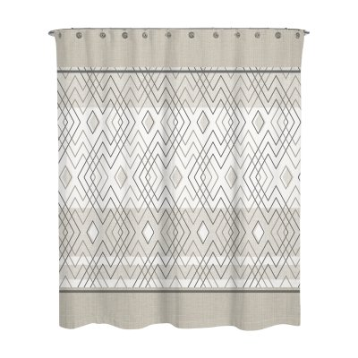 Geometric Beige Grey Rosland Water Repellent Shower Curtain By A1