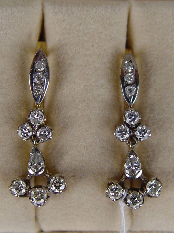 Антиквариат. антикварные золотые Серьги, старинное золото 750 пробы,  бриллиант cb65542a0f9