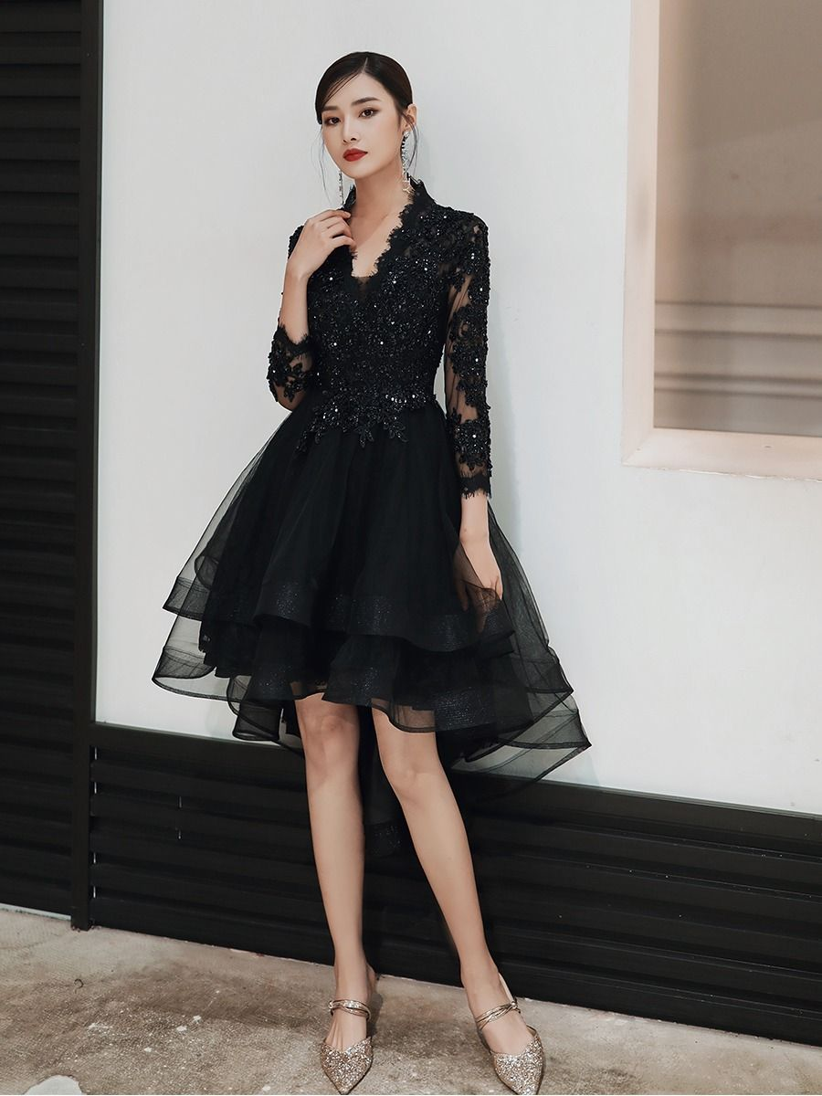 Luxury Beading Appliques High Low Prom Dresses 2020 Short Front Long Back Black Evening Party D High Low Prom Dresses Evening Party Dress High Low Dress Formal [ 1200 x 900 Pixel ]