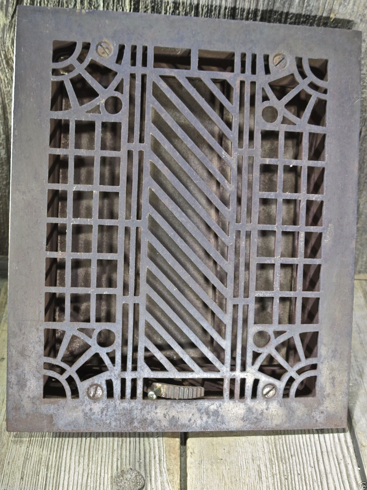 Heat Register Air Grate Louves Old 11 1 2 X 9 5 8 Slant Cast Iron Vintage Clean Antique Hardware Architectural Salvage Antiques