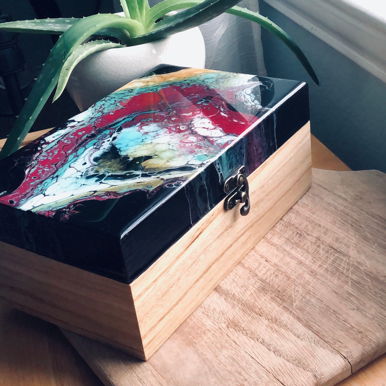 Keepsake Box Hand Painted Box OOAK Jewelry Box Functional