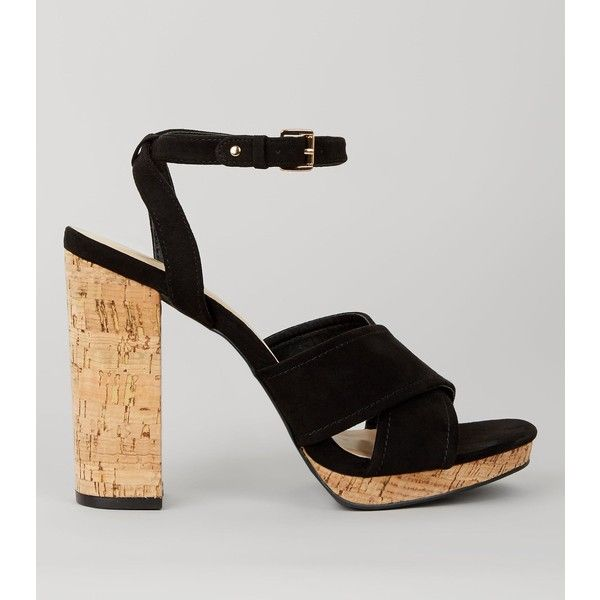 New Look Black Suedette Cross Strap Cork Block Heels (£30) ❤ liked on Polyvore featuring shoes, high heel shoes, block high heel shoes, black block heel shoes, cork sole shoes and kohl shoes