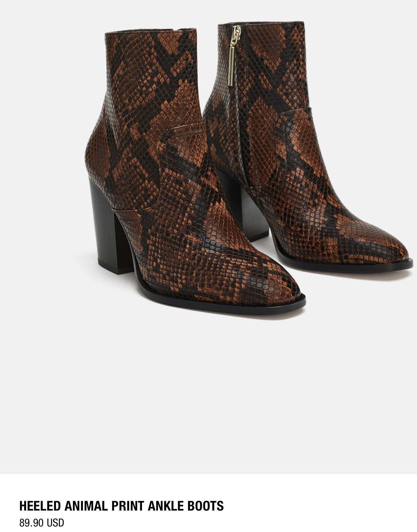 6a43c6e15c15 Zara heeled animal print ankle boots Brown black snakeskin booties ...