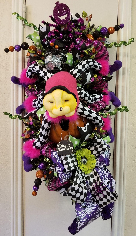 Spider Wreath, Spider Swag, Halloween Wreath, Halloween Swag - halloween front door decor