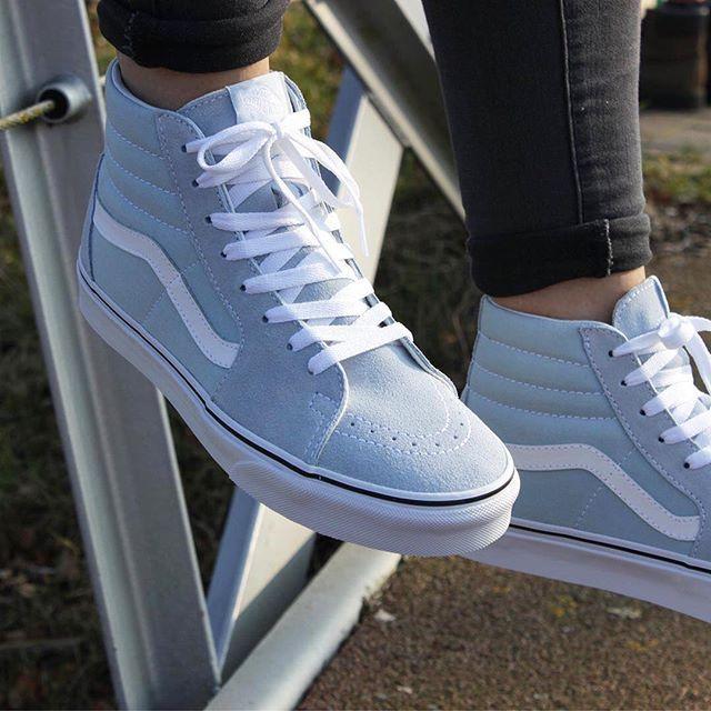 Vans | Sk8-Hi | Lichtblauw | Dames | Vans sneakers, Schoenen ...