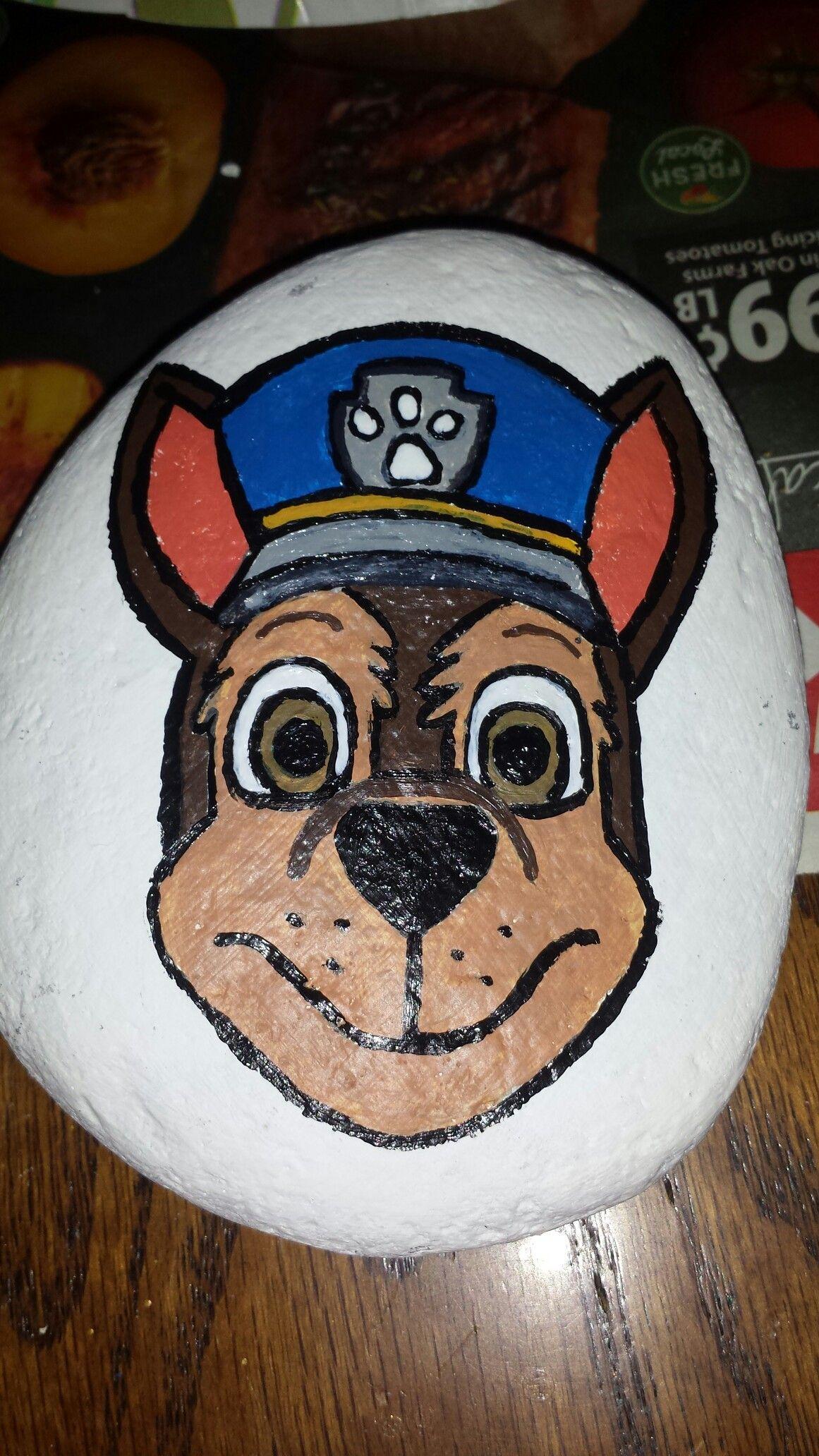 Paw patrol painted chase rock | jc rocks fun | Pinterest | Paw ...