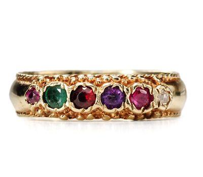 20th C. Sentimental REGARD Ring (Ruby, Emerald, Garnet, Amethyst, Ruby, Diamond)