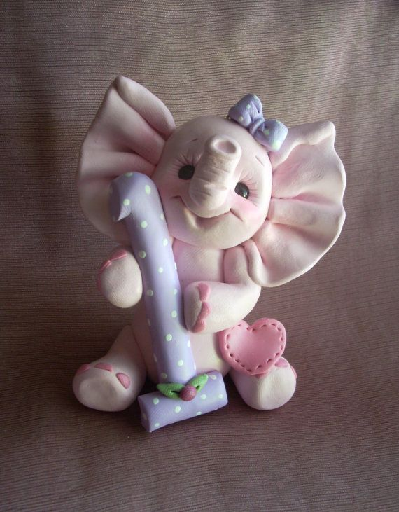 elephant birthday cake topper Christmas ornament by clayqts, $24.95