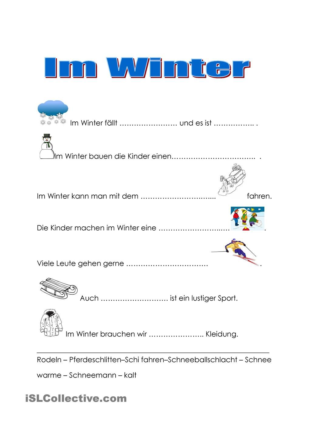 Im Winter | Pinterest | Winter and Worksheets
