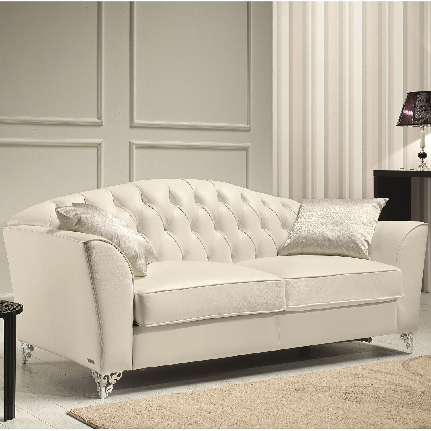 Divina Loveseat In Tufted Top Grain Italian Leather W Ornate Legs By J And M Furniture Furniture Leather Loveseat Leather Sofa