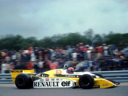 Rene Arnoux drove his Renault to win the 1982 French Grand Prix at Paul Ricard