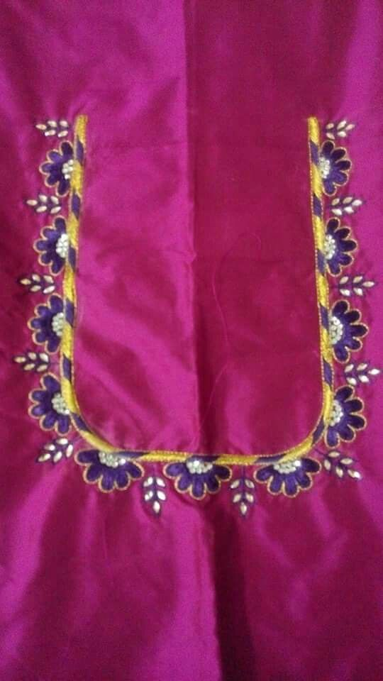 Blouse neck embroidery aari work collection pinterest