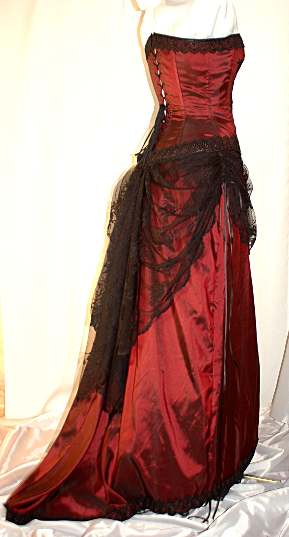 Burgundy and black victorian inspired adjustable gown