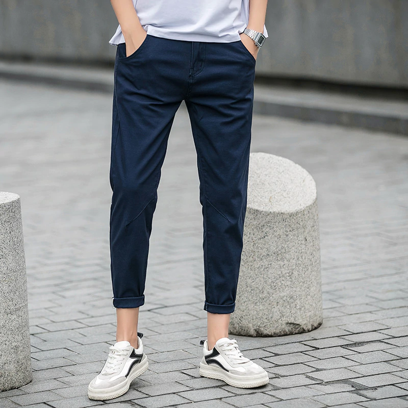 Men Summer New Casual Pants Cotton Slim Fit Chinos Ankle-Length Pants  Fashion Trousers | Mens pants fashion, Mens pants casual, Pants outfit men