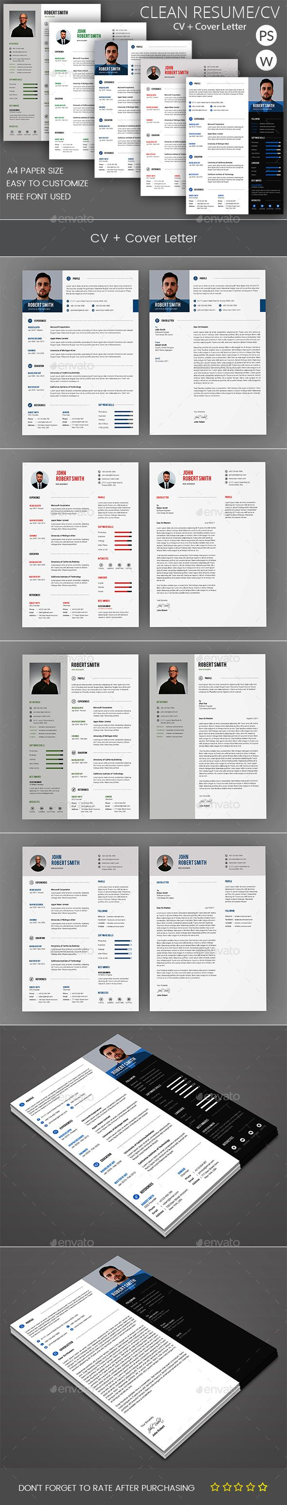 How To Make A Cover Letter For A Resume Clean Resume & Cover Letter Bundle  Pinterest  Resume Cover .