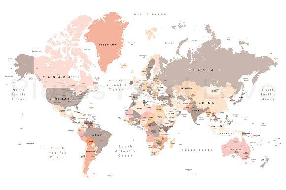 world map - all layers outlined stars-Colourful Illustration of a world map showing country names, State names (USA & Australia), capital cities, major lakes and oceans. Print at no less than - Buy this stock illustration and explore similar illustrati