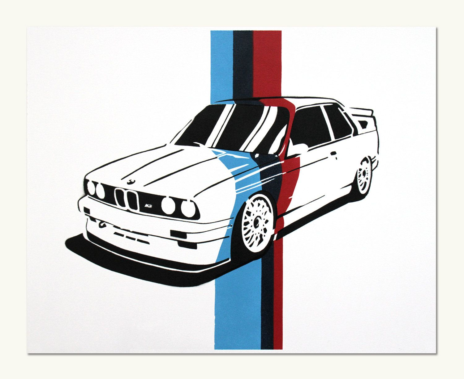 Items similar to Classic Car Print – BMW E30 M3 (M Colors) on Etsy