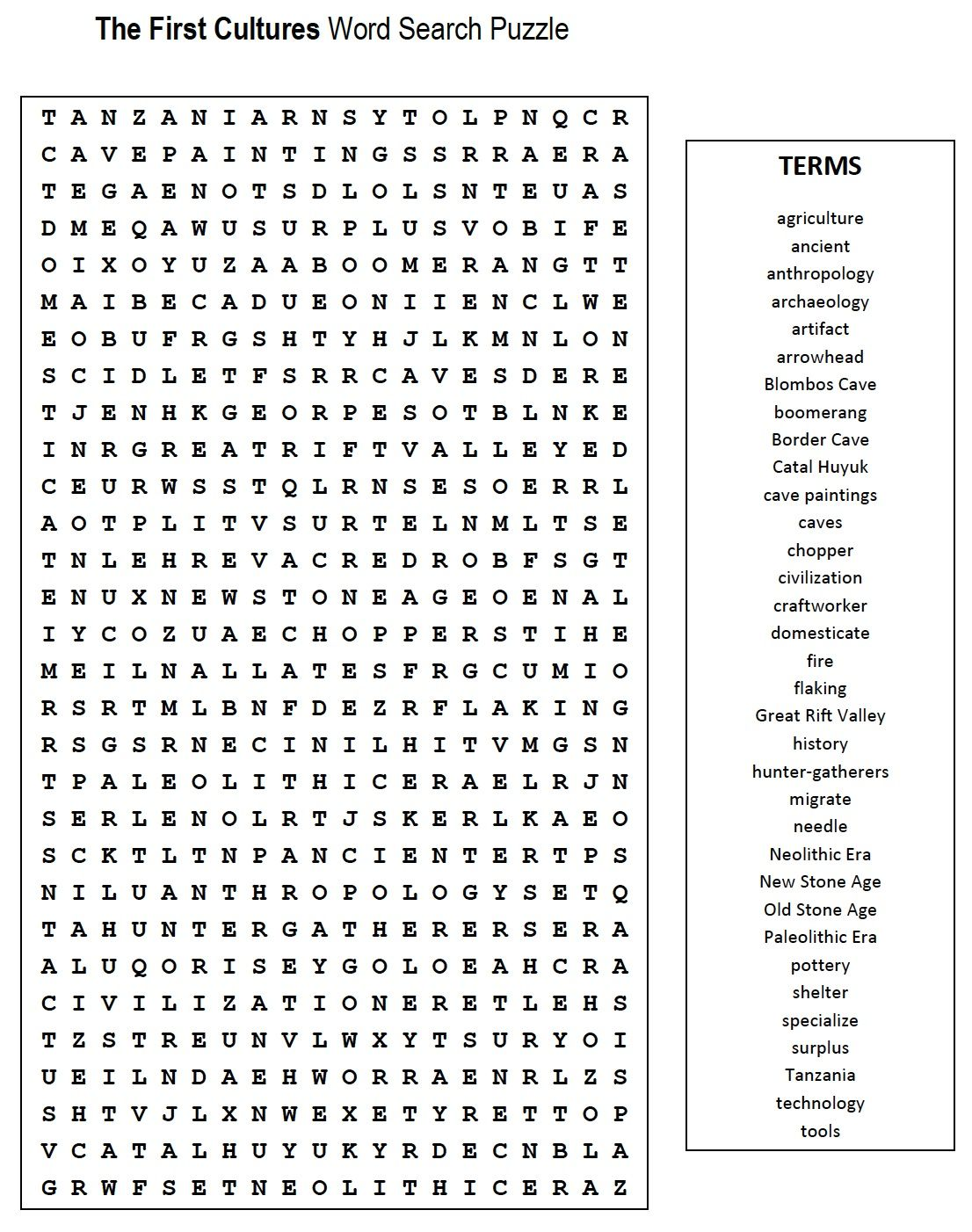 First Cultures Word Search 6th Grade