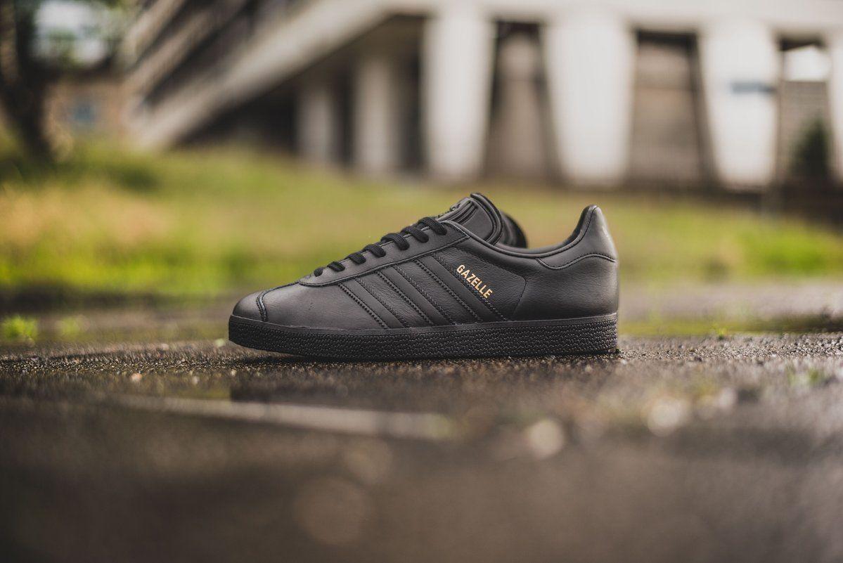 Adidas Mens Gazelle Black Leather Trainers | Black leather ...
