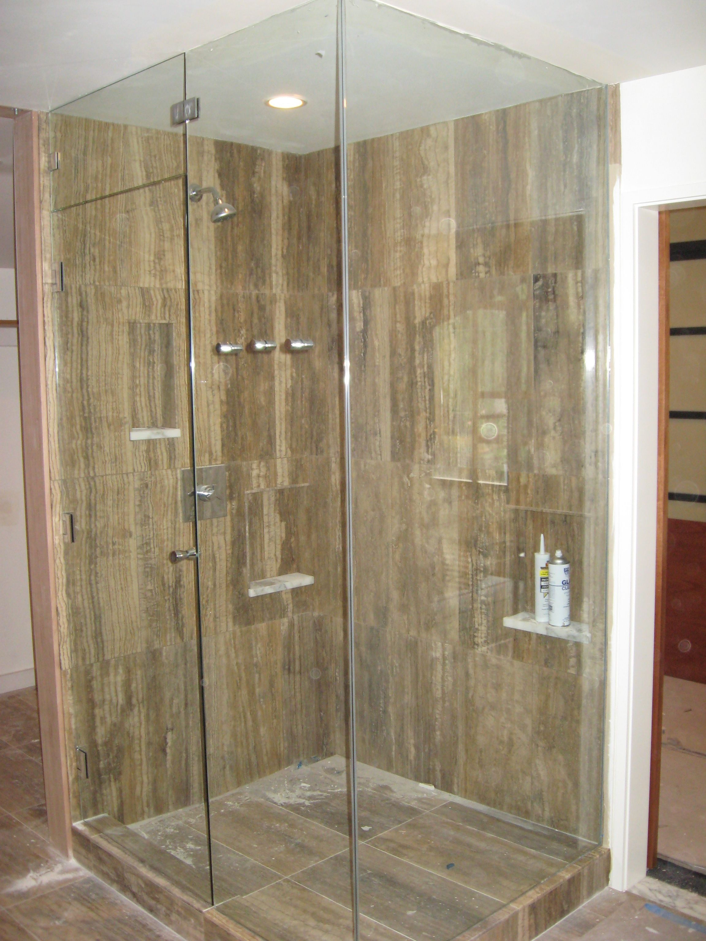 3 Panel Sliding Shower Door With Mirror | http://sourceabl.com ...