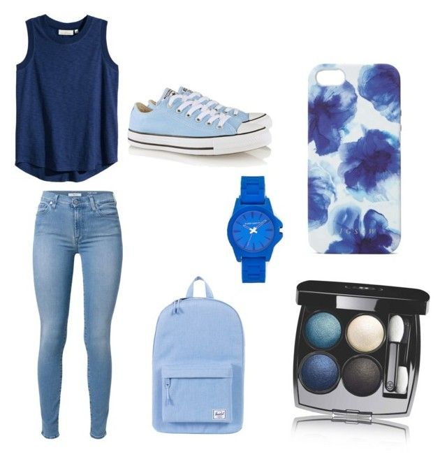 """""""Blue"""" by soccer1313 ❤ liked on Polyvore featuring 7 For All Mankind, Herschel Supply Co., Chanel, Jigsaw, Converse, Vince Camuto and H&M"""